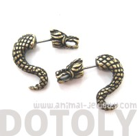 3D Fake Gauge Dragon Animal Stud Earrings in Bronze on ...