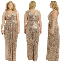 J102 Gold Wedding Prom Long Gowns Plus Size Elegant ...