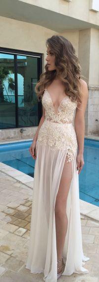 Chiffon lace prom dresses, Beach wedding dresses, Sexy ...