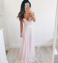 Lace chiffon prom dress, Beach Wedding dress, Simple prom ...