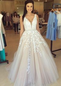 Lace tulle prom dress, A line prom dress, lace wedding ...