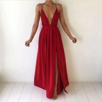 Simple red V-neck long prom dress,formal dresses  Dream ...