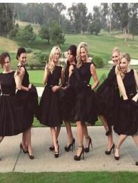 Short black bridesmaid dress,A-line bridesmaid dress ...