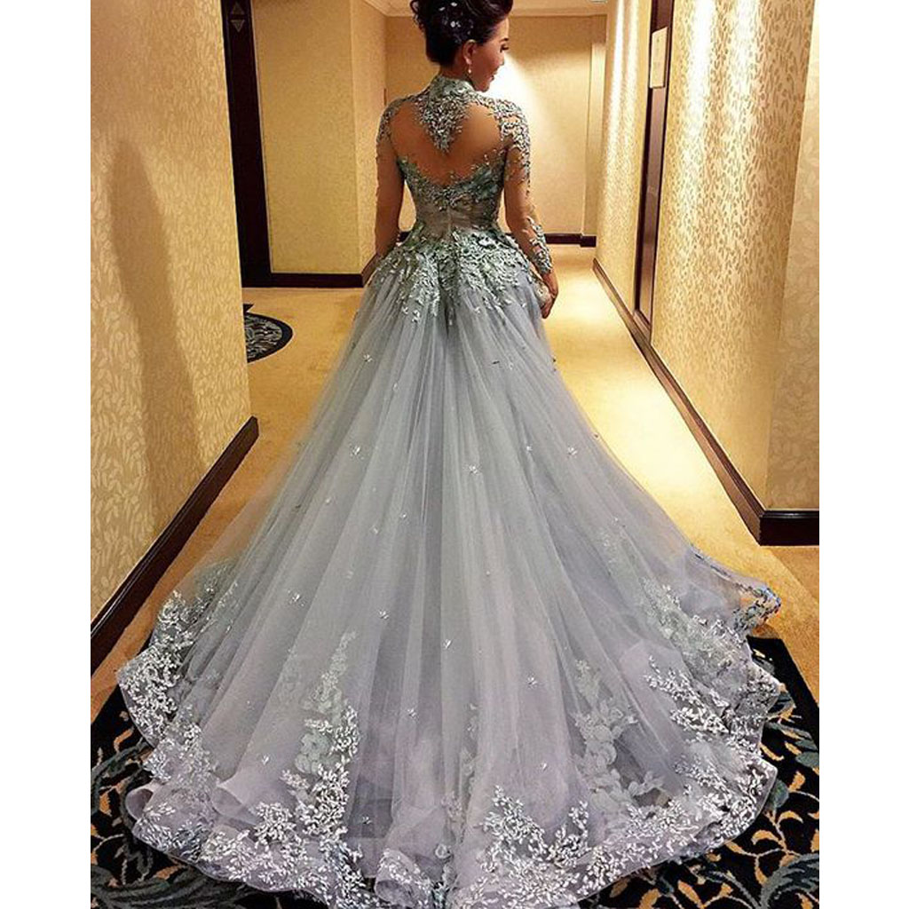 Gorgeous prom dress long sleeve prom dress grey prom dress high neck prom dress inexpensive