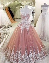 Blush Pink Prom Dress,Lace Tulle Prom Dresses,High Quality ...
