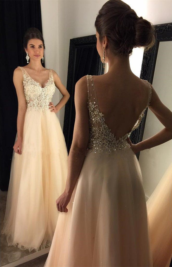 Sexy Backless Lace Evening Prom Dresses, Champagne Long