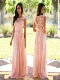 Blush Pink lace bridesmaid dresses, long bridesmaid ...