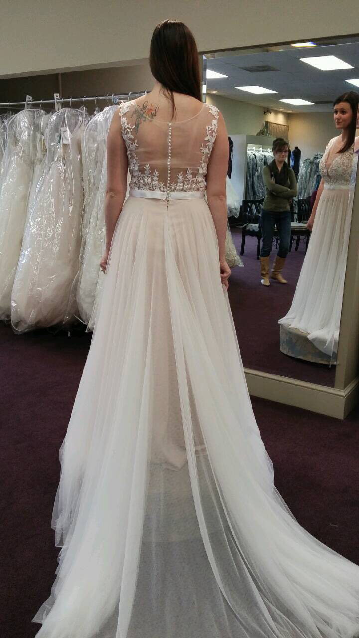 Lace Appliqued Soft Tulle Beach Wedding DressesPlus Size