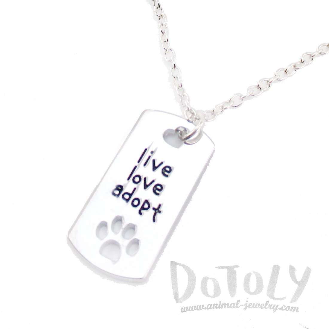Dog Tag Shaped Pendant Necklace With Live Love Adopt Etched On Front Dotoly Animal Jewelry