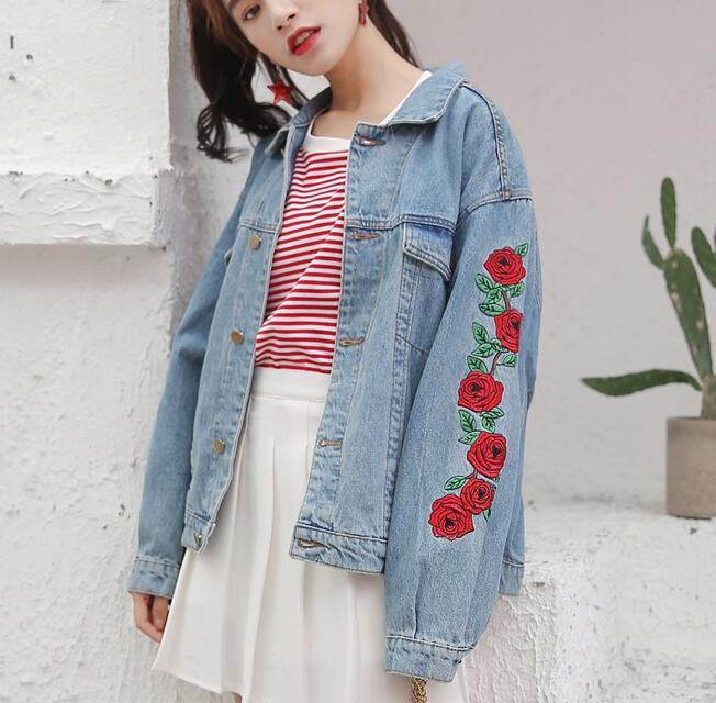 rose embroidery denim jacket