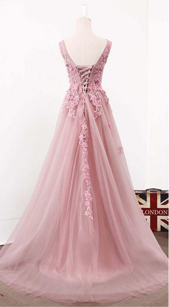 Blush Pink V Neckline Two Straps Lace Evening Prom Dresses
