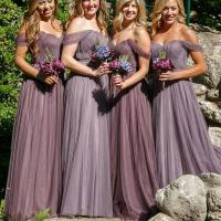 Off Shoulder Long A-line Tulle Bridesmaid Dresses, Wedding ...