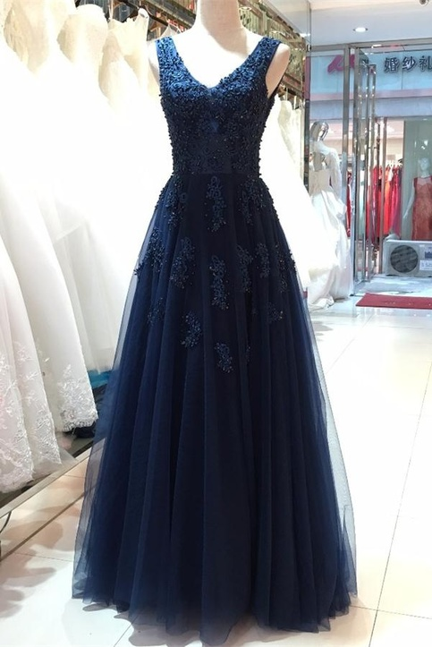 Floor Length Vneck Prom DressesOpen Back Evening Dresses