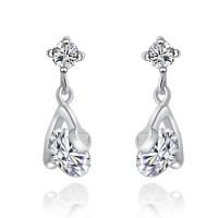 Love Heart Silver Drop Earrings Sterling Silver Post ...