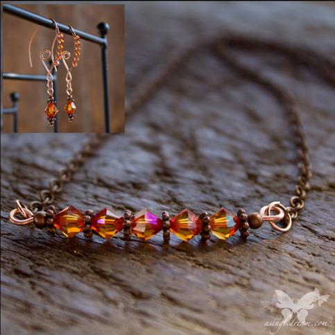 Astral Pink Swarovski Necklace & Earrings Set