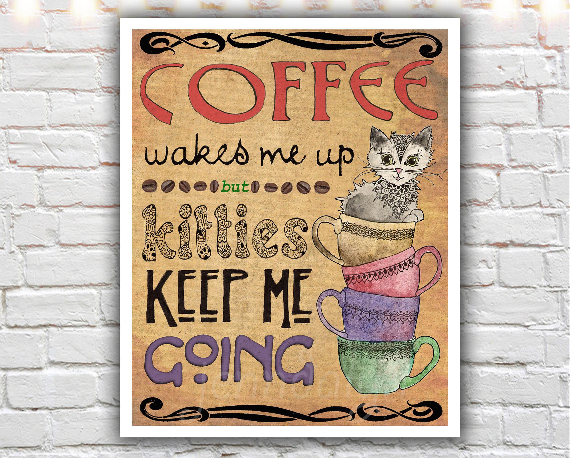 kitchen art prints cabinet drawer inserts kitties coffee 11 x 14 paper print cup