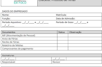 Modelo de Checklist: Arquivamento do processo de férias
