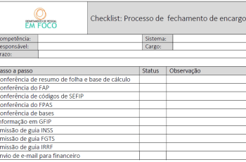 Modelo de Checklist: Processo de  fechamento de encargos
