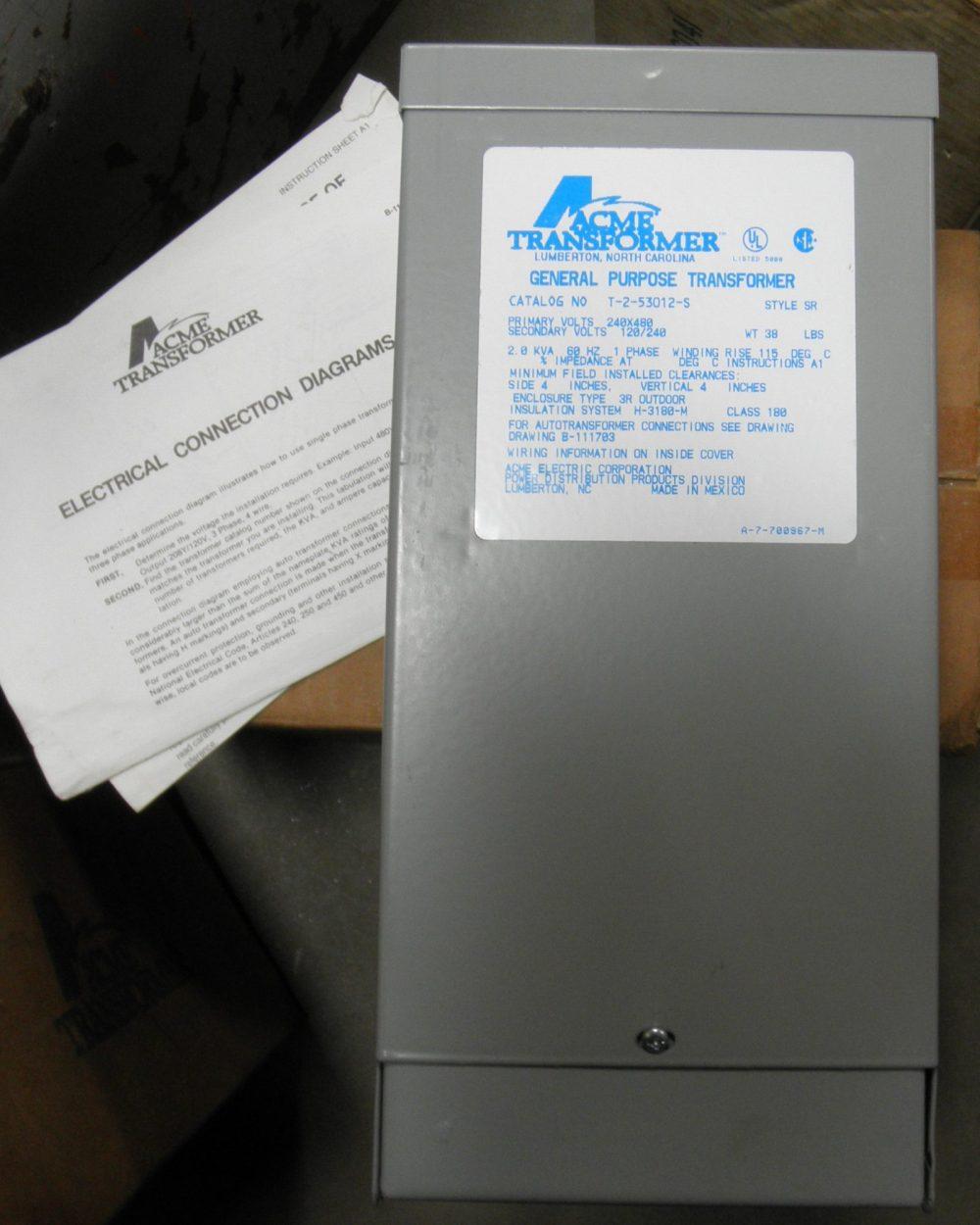 medium resolution of acme transformer t 2 53012 s 240 480v primary 120 240v secondary 2kva 60hz 1ph dp equipment llc