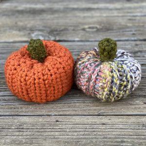 crocheted pumpkins in orange and multi