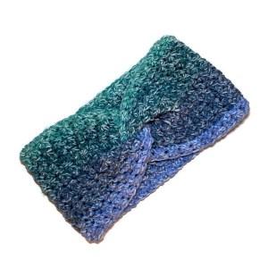 crochet earwarmer in blues and greens