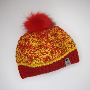 Crochet beanie in red and yellow