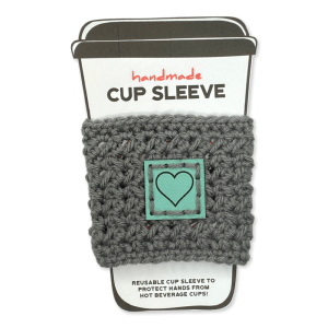 Gray cup sleeve with aqua heart badge