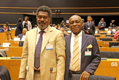 Vice President, ACP-EU Joint Parliamentary Assembly, Bruno Lengko, greets Guyana's Minister of Foreign Affairs and Vice President Carl Greenidge