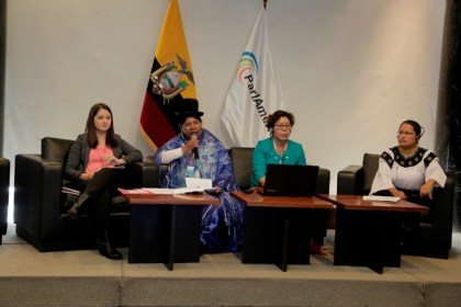 Minister within the Ministry of Indigenous Peoples' Affairs, Valerie Garrido-Lowe at the ParlAmericas' Group of Women Parliamentarians, Ecuador