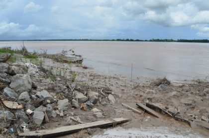 Mangrove and vegetation destroyed at Friendship sea and river defence