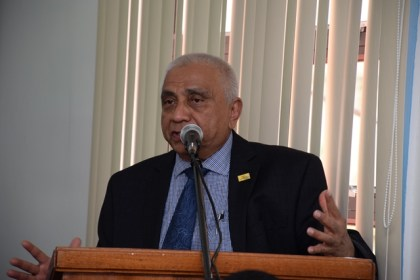 Harry Harakh, President of the Caribbean North Charities Foundation Guyana delivering his remarks at the handing over ceremony.