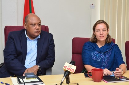 Natural Resources Minister Raphael Trotman and World Bank Consultant on EITI Ana Maria Rodriguez