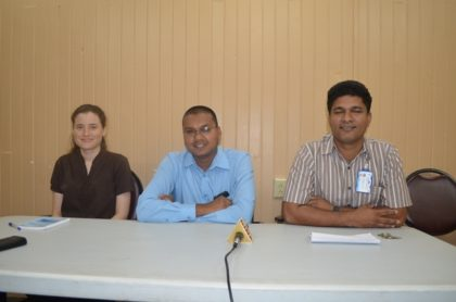 Surgeon-doctors who attended the 14th annual Caribbean College of Surgeons conference. From left to right, Dr. Gabrielle DeNobrega-2nd year resident student, Dr. Shilindra Rajkumar-Plastic Surgeon Consultant and Dr. Navindranauth Rambaran Consultant Surgeon all of the Department of Surgery, Georgetown Public Hospital Corporation.