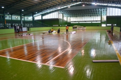 The newly laid Basketball court at the Cliff Anderson Sports Hall