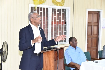 President David Granger addressing the gathering at the GPSU's Headquarters