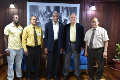 From left: Mr. Brinaire Jean, CEO of Food For The Poor (Guyana) Incorporated, Mr. Kent Vincent, President David Granger, President and CEO of Food for the Poor's Florida Office, Mr. Robin Mahfood and Chairman of the Board of Food For The Poor (Guyana) Incorporated, Mr. Paul Chan-a-Sue