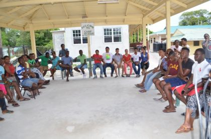 a gathering of the youth participating in an ongoing Leadership training camp at the Training Centre.