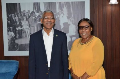 President David Granger and Ms. Esther Griffith at the Ministry of the Presidency.