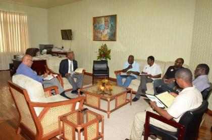Minister of State, Mr. Joseph Harmon conducting Mocha Arcadia development meeting with community representative and government officials, today at the Ministry of the Presidency.