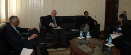 (From left to right) Minister of Business Dominic Gaskin (first from left), Canadian High Commissioner Pierre Giroux and International Business Development Manager of CONA, Elizabeth Vincent (First right)