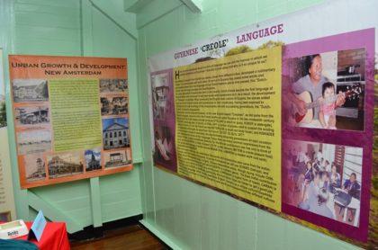 Display explaining the development of the Guyanese Creole Language