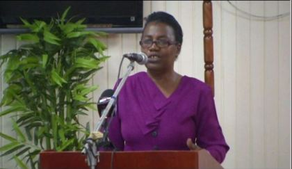 Executive Director, NAC, Deborah Jack, giving an overview of the NAC institutional strengthening project