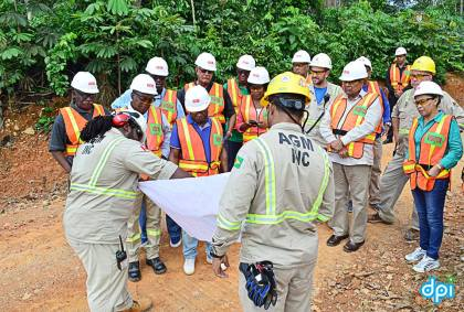 Executives of Guyana Goldfields Inc. Aurora Gold Mine explaining the operation of the mine to the visiting team including Prime Minister Moses Nagamootoo,  Ministers: of Natural Resources, Raphel Trotman, Foreign Affairs, Carl Greenidge, Finance, Winston Jordan, Agriculture, Noel Holder, Citizenship, Winston Felix and Minister within the Ministry of Communities Dawn Hastings-Williams