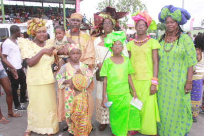 A family decked out in their African outfits at an Emancipation Day celebration