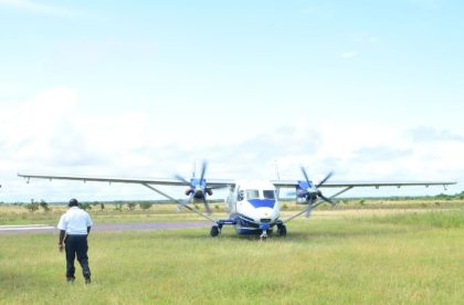An aircraft arriving at the Annai airstrip
