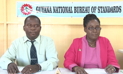 Representatives of the Guyana National Bureau of Standards: from left, Public Relations Officer Lloyd David and Candelle Walcott – Bostwick, Head of Conformity Department