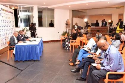 The press conference in progress at the close of the Thirty Seventh Regular Meeting of the Conference of the Heads of Government of the Caribbean Community.
