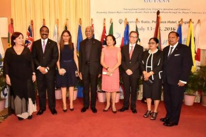 From left: Ms. Maria Cristina Perceval, UNICEF's Regional Director for Latin America and the Caribbean, Attorney General and Minister of Legal Affairs, Mr. Basil Williams, Mrs. Williams,  President David Granger, First Lady, Mrs. Sandra Granger, Secretary-General of the Hague Conference on Private International Law, Dr. Christophe Bernasconi, Mrs. Sita Nagamootoo and Prime Minister, Mr. Moses Nagamootoo.