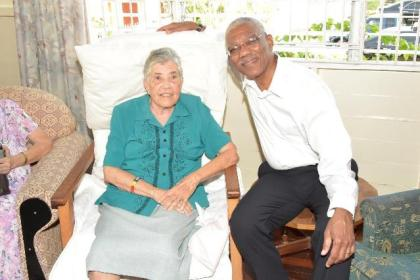 President David Granger and his former lecturer at the University of Guyana, Sister Mary Noel Menezes