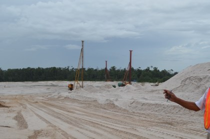 Ongoing sand filling works at the Cheddi Jagan International Airport